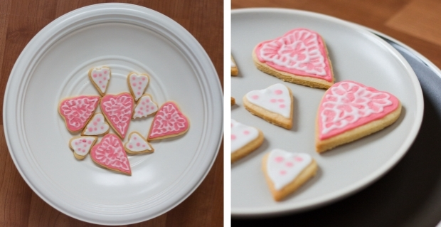 Brushed Sugar Heart Cookies