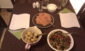 Dinner - Warm Potato Salad with Smoked Salmon and Asparagus Vegetables