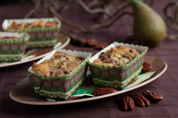 Spicy Pear Cakes with Maple Syrup and Pecan Topping