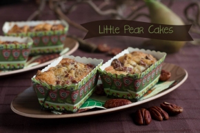 Pear Cakes with Maple Syrup and Pecan Topping