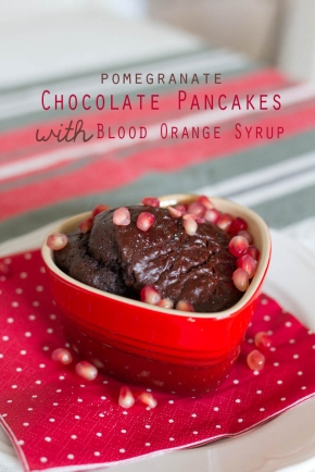Pomegranate Chocolate Pancake with Blood Orange Syrup {by Icing-Sugar.net}